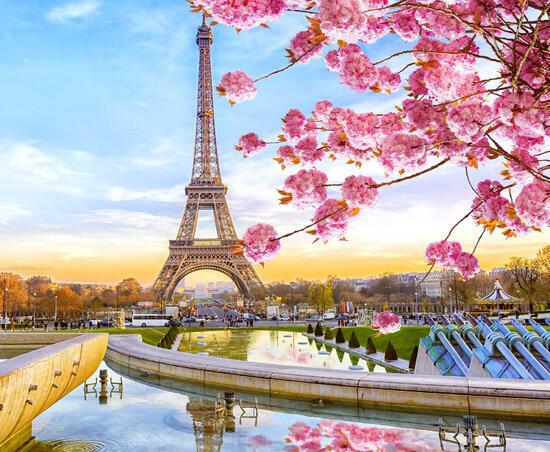Алмазная мозаика 40x50 Нежная весна в романтичном Париже